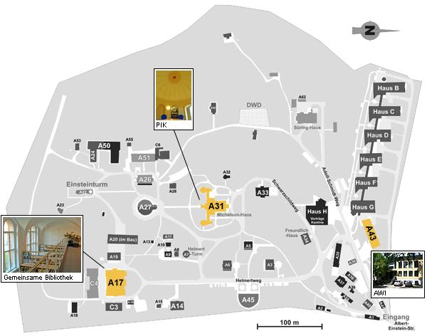 Lageplan der Institute auf dem Telegrafenberg